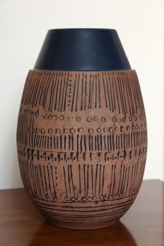 Anonymous; Glazed and Incised Earthenware Vase by Gustavsberg, c1950.