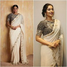 Regina Cassandra looks graceful in a luxe ivory saree from Sue Mue's Bani Thani collection. Beautifully styled by for her appearance at a cultural event in Los Angeles. Red Lehenga, Lehenga Choli, Anarkali, Sabyasachi, Saree Gown, Bridal Lehenga, Indian Attire, Indian Wear, Indian Style
