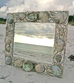 Silver abalone seashell mirror Elegantshells.com #CustomDesigns #Seashellmirrors
