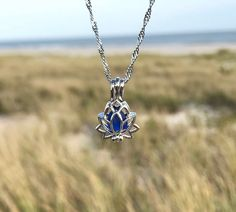 Lotus Locket Necklace with Sea Glass Choose Your Color by Wave of Life