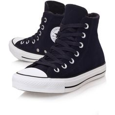 Ct Fur Lined Hi Converse Black ($59) ❤ liked on Polyvore featuring shoes, sneakers, converse, sapatos, trainers, black, flat sneakers, black flat shoes, black shoes and high top shoes
