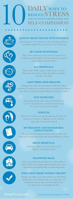10 Daily Ways To Reduce Stress And Cultivate Mindfulness And Self-Compassion Infographic