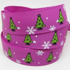 "5 Yds Purple Grosgrain Ribbon  - 5/8"" - Green Christmas Trees (130374)"