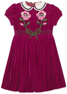 Children's velvet dress with sequin embroidery