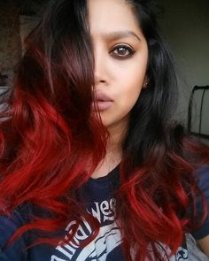 red ombre on dark hair using colour freedom crimson red