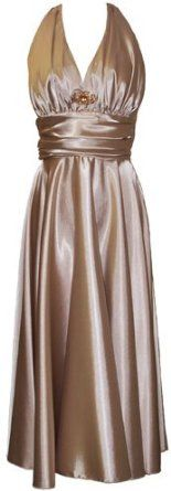 Marilyn Satin Halter Bridesmaid Dress Junior Plus Size Holiday Prom Gown