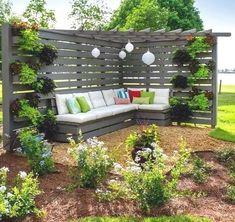 75 Easy Cheap Backyard Privacy Fence Design Ideas - Bailee News Cheap Privacy Fence, Privacy Fence Designs, Privacy Landscaping, Backyard Privacy, Pergola Designs, Garden Privacy, Privacy Screens, Landscaping Design, Garden Arbor