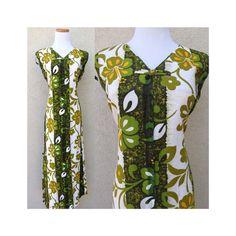 Hawaiian Tropical Maxi Dress Vintage 60's Mod Floral Flower Power Hibiscus Shift Hippie Gown Green Island Tiki Party Dress Size Medium