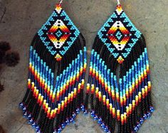Etsy :: Your place to buy and sell all things handmade Native American Jewellery, Native American Earrings, Native American Beadwork, Native American Fashion, Beaded Earrings Patterns, Seed Bead Patterns, Beading Patterns, Beaded Jewelry, Brick Stitch Earrings