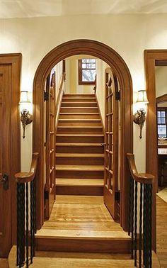 Nothing like the beautiful details of a historic home. This entry to the staircase is very unique and gorgeous.
