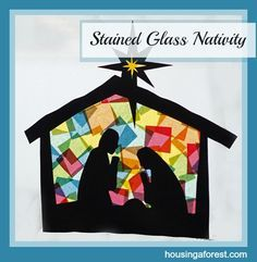 Easy Stained Glass Nativity. Need to find a silhouette or draw own. Love stained glass effect!