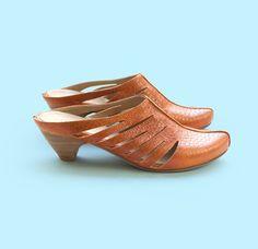 New Brick Orange Clogs. Sasha Model. Handmade by LieblingShoes