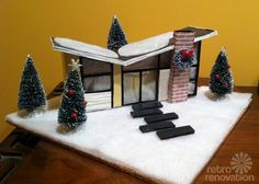 Reader Sarah shows us how to build a putz house to mimic her round geodesica house. She also builds a putz how dry cleaners! Purple Christmas, Old Christmas, Modern Christmas, Retro Christmas, Christmas Tables, Coastal Christmas, Hallmark Christmas, Miniature Christmas, Crochet Christmas