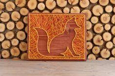 Fox string art wall decor fox string art made on reclaimed
