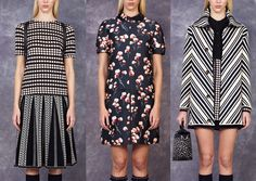 Tory Burch - Pre Fall 2014-Polka-Dotted print - Black & White Graphic Contrast  - Simple Florals  - Chevron Pattern Structure - Bold Graphic Impact – Intense Structure