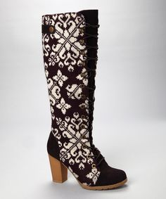 Take a look at this Eggplant Basket Weave Knee-High Lace-Up Boot - Women by Blow-Out on #zulily today!