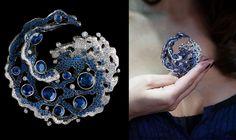 Jewelry Theatre Elements High Jewelry PendantDiamonds 4,03 ct; Oval Sapphire 1,88 ct; Pear Sapphire 2,29 ct; Pear Sapphire 2,01 ct and1,26 ct ; Sapphires 6,93 ct;18K White and Black Gold;