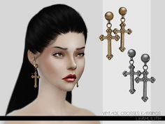 The Sims Resource: Vintage Crosses Earrings by  LeahLillith � Sims 4 Downloads