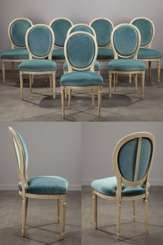 Set of eight blue velvet reupholstered chairs with green-grey lacquered structure. The wooden structure is decorated with flutes and rows of pearls. Decor, Furniture, Furniture Dining Table, Chair, Dining Room French, Most Comfortable Office Chair, Upholstered Swivel Chairs, Reupholster Chair, Dining Room Buffet Table
