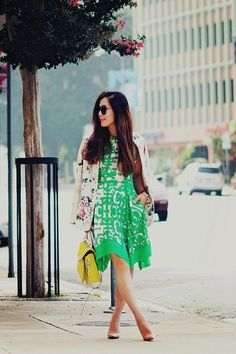 Floral Blazer and Print Dress