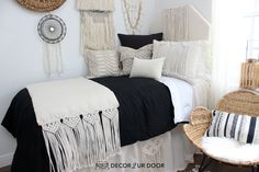Dorm season is finally here. We are so excited to launch these gorg dorm bedding designs we have been working on for months. This season we're seeing tons of pattern (think palm), texture, macrame, and unexpected fabrics. Of course, neutrals are always a good idea.