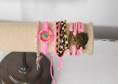 Pink Bracelet Dream Catcher Owl Leather Macrame by LandofBridget