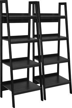 Altra Lawrence 4 Shelf Ladder Bookcase Bundle Black Home Office Den Furniture  #AltraFurniture