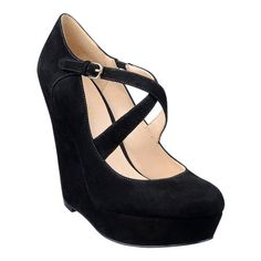 Round toe pump with crisscross straps.  Perfect to tee with tights in the cooler months.