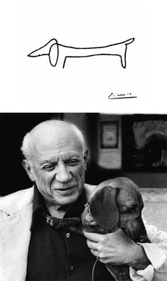 Picasso and his adored dachshund, Lump. Picasso loved animals and his work is rich with depictions of them. There is even a book devoted to the artist and his best friend – Picasso & Lump: A Dachshund's Odyssey. Maybe my tatoo :) Pablo Picasso, Picasso Drawing, Picasso Tattoo, Picasso Art, Dachshund Funny, Dachshund Love, Picasso Dachshund, Dapple Dachshund, Dachshund Puppies