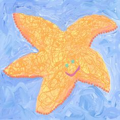 Orange Starfish Canvas Art