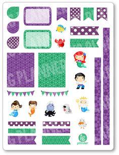 Mermaid Princess Decorating Kit / Weekly Spread Planner Stickers for Erin Condren Planner, Filofax, Plum Paper