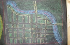 Waldorf ~ 4th grade ~ Local Geography ~ City Street Map (aerial view) ~ chalkboard drawing