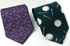 Jos A Bank 100% Silk Tie Necktie Golf Tees Balls Flags Clubs Bags Short Lot of 2 #JosABank #NeckTie