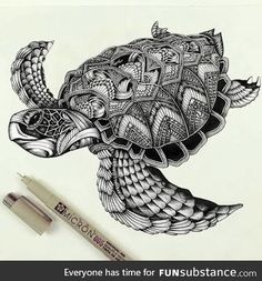 This might work for my cover-up 🐉🐢 Turtle zentangle pattern :D Zentangle Drawings, Zentangle Patterns, Zentangles, Doodle Art, Tier Doodles, Turtle Tattoo Designs, Tribal Turtle Tattoos, Muster Tattoos, Animal Doodles