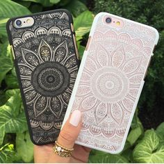 White & black sunflower mandala case. Available for iPhone 6/s, iPhone 6 Plus / 6s Plus, iPhone 5/5s/se, Samsung S5 and Samsung S6