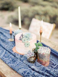 Rue de Seine gown, boho bride, bohemian bride, desert wedding, blue suit, cactus succulent centerpiece - Rachel Solomon Photography Blog | Southwest Wedding Inspiration | http://blog.rachel-solomon.com