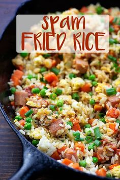 Spam fried rice is an easy, cheap lunch that I make my kiddos all the time. It's even better than take out! Spam Fried Rice, Rice Recipes, Cooking Recipes, Pork Recipes, Cooking Ideas, Diet Plan Menu, Rice Dishes, Main Dishes, Easy Meals