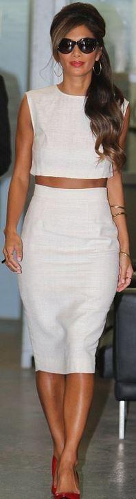 Who made Nicole Scherzinger's white top, white high waist skirt, red pumps, and gold jewelry? Shirt and skirt – Basharatyan  Shoes – Kurt Geiger  Ring – Shaun Leane