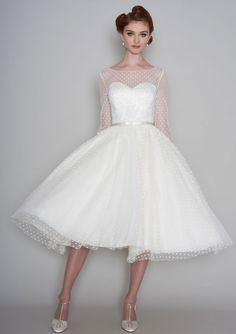 86-maisey Fifties style tea length wedding dress in  dotty tulle and lace