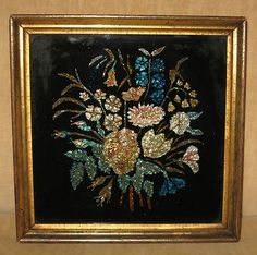 C Folk Art Reverse Painted Glass Foil Flowers in Gilt Wood Gesso Frame Button Tree Art, Chinoiserie, China, Folk Art, Nostalgia, Arts And Crafts, Victorian, Antiques, Wood