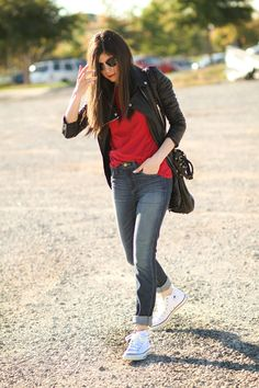 Fall / winter - street style - White Converse + red top + leather jacket