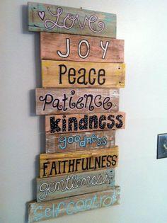 You are soooo getting this for Christmas @Jami Beintema Hazlerig - Pallet Art - Fruits of the Spirit. $60.00, via Etsy.