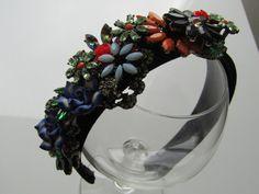 Stunning black floral velvet headband/hairband with by HairByAdele