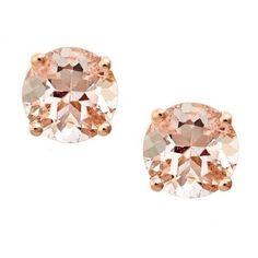 Anika and August 14k Rose Gold Morganite Stud Earrings (Morganite), Pink Peach, Size Medium