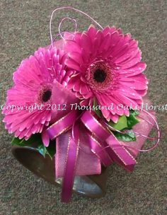 Gerber Daisy Wristlet Corsage with Wire and Ribbons