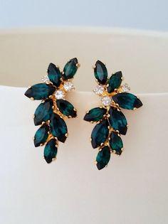 Emerald Earrings, Emerald Bridal Earrings, Statement Stud Earrings, Large Earring, C . Bridesmaid Earrings, Bridal Earrings, Wedding Earrings Gold, Bridesmaid Gifts, Wedding Jewelry, Emerald Earrings, Stud Earrings, Emerald Shoes, Gold Statement Earrings