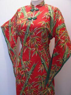 Vintage Red 1950's 50s Hawaiian Hawaii Pake Muu Dress Atomic Bombshell Bamboo Print Kimono Sleeves Mandarin Frog Collar