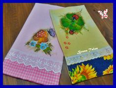 ♥ Guardanapos o rosa pintado o amarelo com decoupagem de guardanapo de papel ♥ feito por Bruna Talon