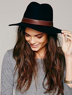 Free People Leather Banded Floppy Hat