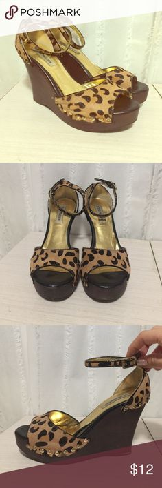 Leopard wedge heels Pony hair printed animal spot wedges with ankle buckle strap. Steve Madden Shoes Wedges